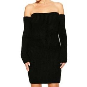 Naked Wardrobe Feelin' Knit Out Mini Black Dress S